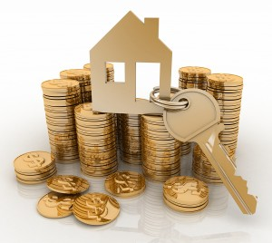 3d home with key on Pile of gold coins